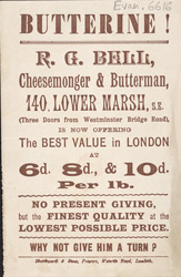 Advert for RG Bell, cheesemonger & butterman